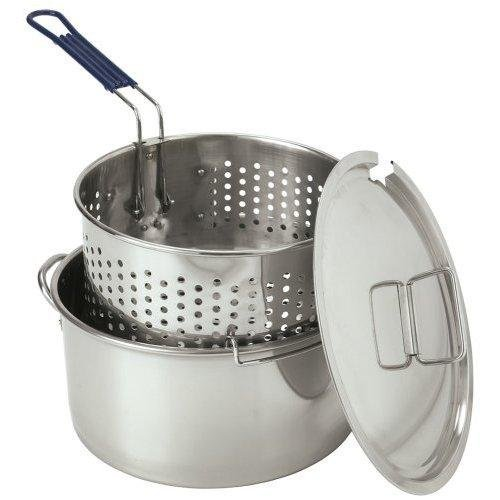 Bayou Classic 1150 Stainless 14-Qt. Deep Fryer- Lid- Basket