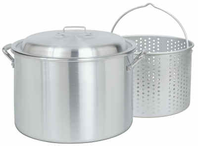 Bayou Classic 4020 20-Qt. Stockpot with Small Holed Basket