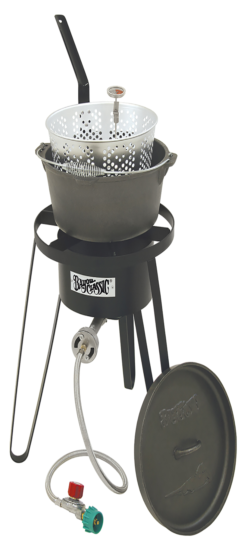 Barbour Classic B159 Outdoor Fish Cooker - 21 Inch Tall Frame with Cast Iron Fry Pot