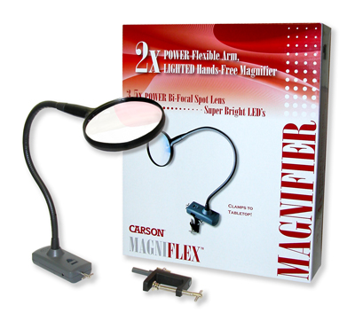 Carson CL-65 MagniFlex LED Lighted Flexible Magnifier with Table Clamp and Power Adapter CL-65