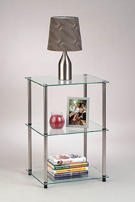 Convenience Concepts  Inc. 157003 Classic Glass-3 Tier Glass End/Lamp Table