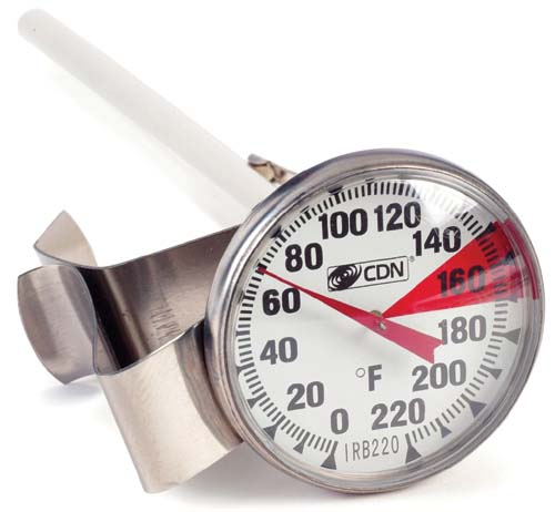CDN IRB220-F-6.5 ProAccurate Insta-Read Beverage & Frothing Thermometer  6.5 Inch Stem