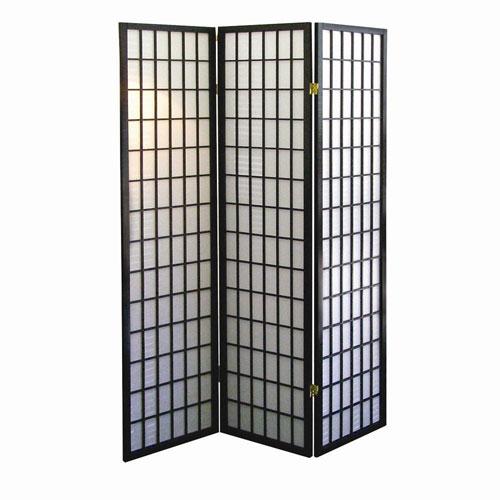 """Dorel 00R530 70"""" High 3-Panel Room Divider - Black"""