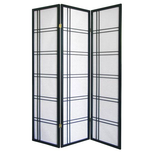 00R542BK Girard 3-Panel Room Divider - Black