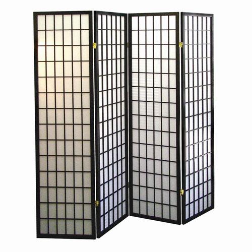 00R530-4 4-Panel Room Divider - Black