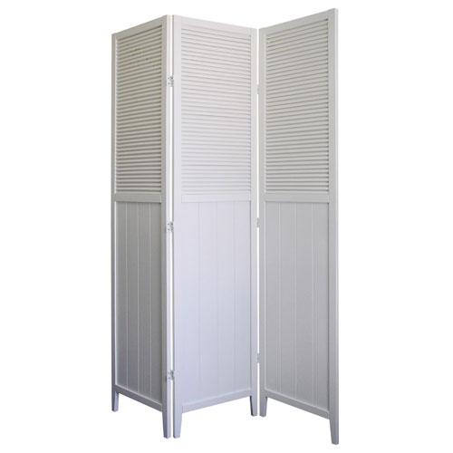 00R5420 Shutter Door 3-Panel Room Divider - White