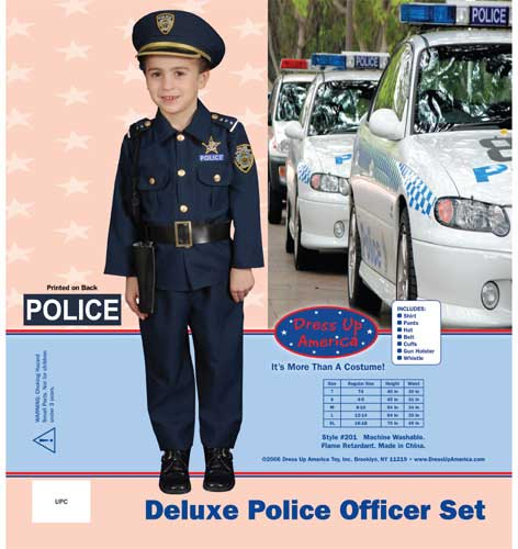 Dress Up America Award Winning Deluxe Police DressUp Costume Set Large 12-14 201-L