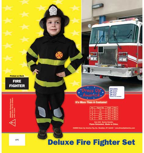Dress Up America Deluxe Fire Fighter Dress Up Costume Set Small 4-6 203-S