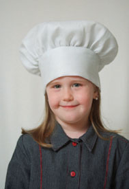 Dress Up America White Chef Hat (kids)  closes with Cloth Tie one size fits most kids H215