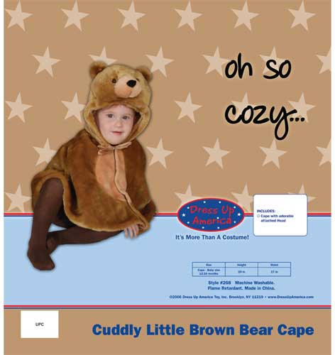 Dress Up America Cuddly Little Brown Bear Cape Costume Set Cape 12-24 mo. 268-C