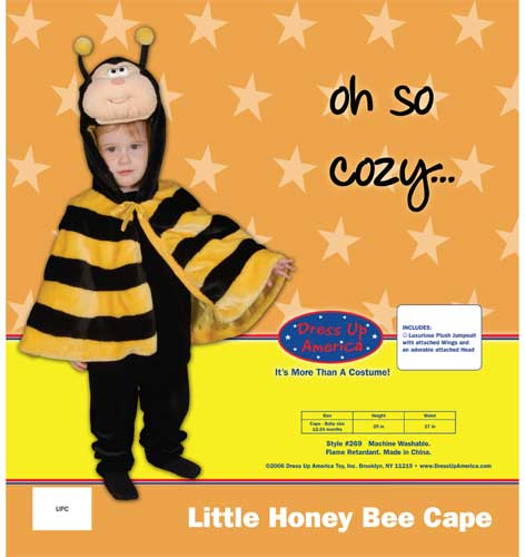 Dress Up America Little Honey Bee Cape Costume Set Cape 12-24 mo. 269-C