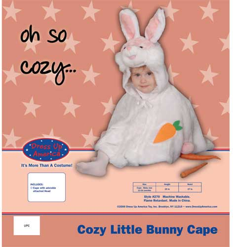 Dress Up America Cozy Little Bunny Cape Costume Set Cape 12-24 mo. 270-C