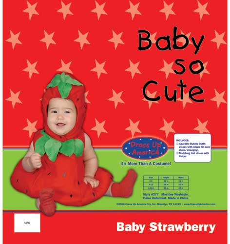 Dress Up America Baby Strawberry Costume Set 6-12 mo. 277-12M