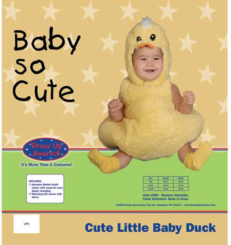 Dress Up America Cute Little Baby Duck Costume Set 0-6 mo. 280-6M