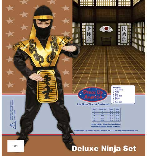 Dress Up America Deluxe Ninja Set Costume Set Medium 8-10 288-M