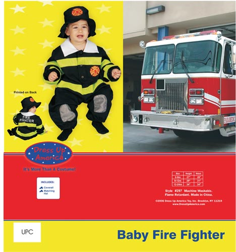 Dress Up America Baby Fire Fighter Costume Set 0-9 mo. 297-9M