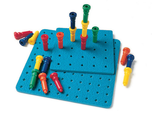 Lauri Lr-2446 Large Tall-Stacker Peg Set-50 Pegs 11-1/2 100-Hole Board