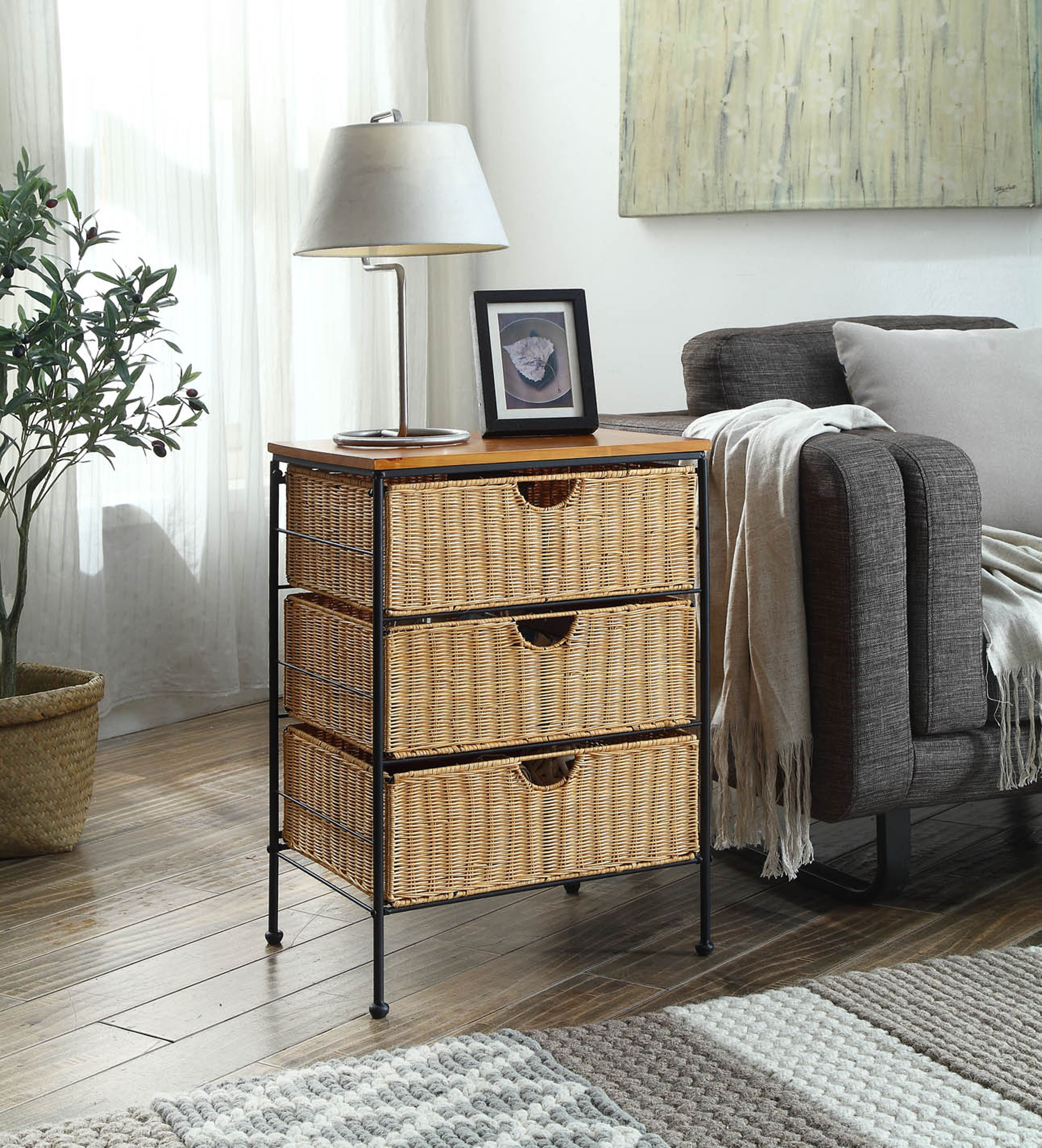 4D Concepts 263069 3 Drawer Wicker Stand - Wicker/Metal