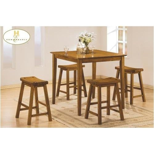 Home Elegance 5302A 5PCS Oak Pub Dining Set