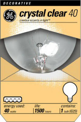GE 12980 40G25 40W  120V  3 Inch Diameter  Clear  Globe Light B