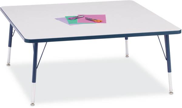 Jonti-Craft 6418JCA112 Kydz Activity Table - Square - 48 x 48 Inches  24-31 Inch Height - Gray/Navy