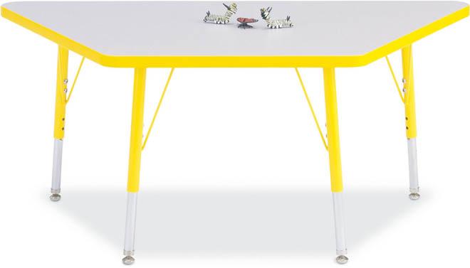 Jonti-Craft 6438JCA112 Kydz Activity Table - Trapezoid - 24 x 48 Inches  24-31 Inch Height - Gray/Navy