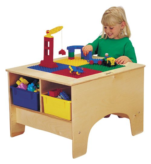 Jonti-Craft 57450JC KYDZ BUILDING TABLE - DUPLO COMPATIBLE With clear tubs