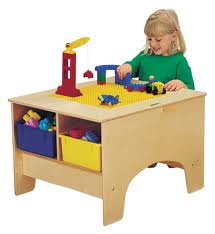 Jonti-Craft 57459JC KYDZ BUILDING TABLE - DUPLO COMPATIBLE With colored tubs