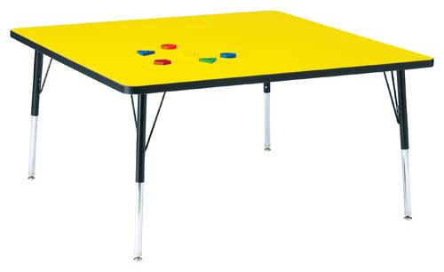 Jonti-Craft 6418JCE187 KYDZ ACTIVITY TABLE - SQUARE - 48 INCH x 48 INCH  15 INCH - 24 INCH HT - YELLOW