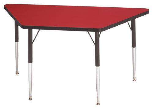 Jonti-Craft 6443JCA188 KYDZ ACTIVITY TABLE - TRAPEZOID - 30 INCH x 60 INCH  24 INCH - 31 INCH HT - RED