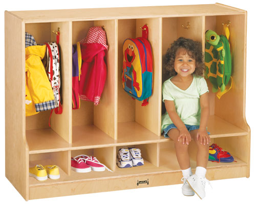 Jonti-Craft 6684JC TODDLER COAT LOCKER WITH STEP - 5 SECTIONS - Without trays