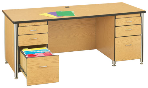 Jonti-Craft 97012JC210 66 INCH TEACHERS DESK WITH 2 PEDESTALS - OAK