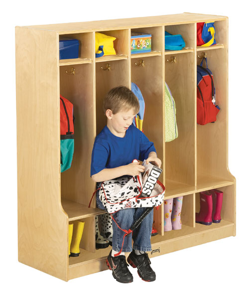 Jonti-Craft 0468JC COAT LOCKER WITH STEP - 5 SECTIONS