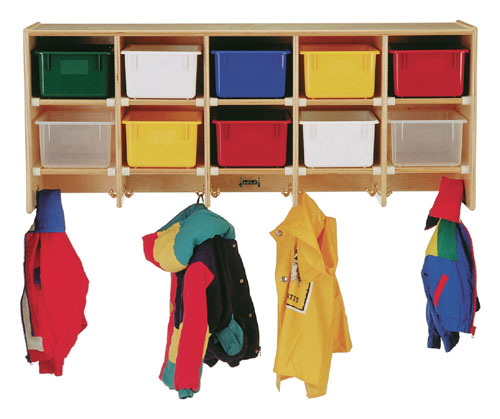 Jonti-Craft 0771JC COAT LOCKER - LARGE WALL MOUNT With colored trays