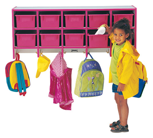Jonti-Craft 0771JC004 COAT LOCKER - LARGE WALL MOUNT With trays - PURPLE