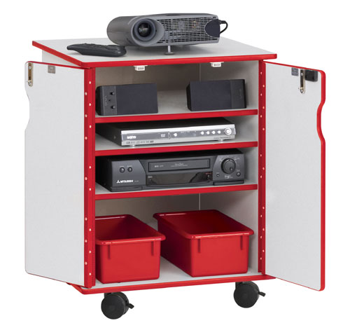 Jonti-Craft 3310JCWW008 PRESENTATION CART - LOCKABLE - RED