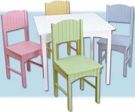 Kid Kraft Nantucket Table and 4 Chair Set -Pastel 26101