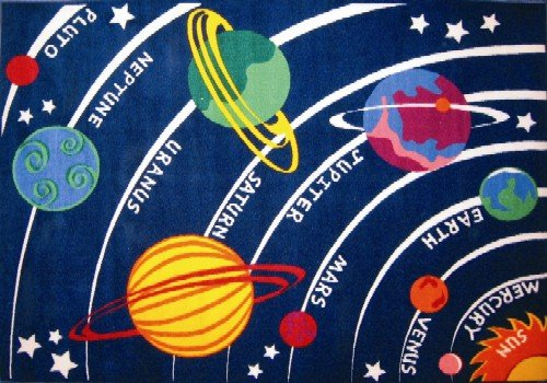 LA Rug FT-170 0811 Fun Time Collection - Solar System Rug - 8 x 11 Ft