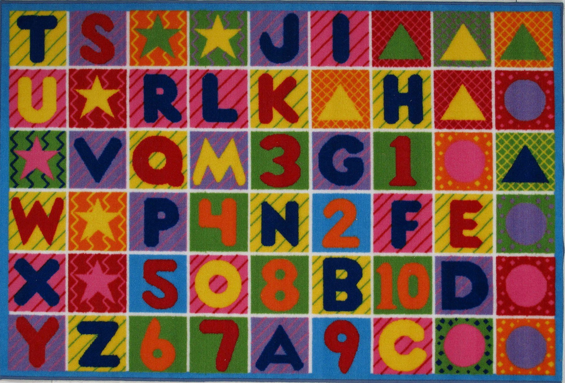 LA Rug FT-2011-P 5178 Fun Time Collection - Numbers & Letters Rug - 51 x 78 Inch