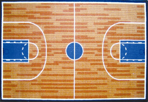LA Rug GI-10 1929 Fun Time Collection - Basketball Court Rug - 19 x 29 Inch