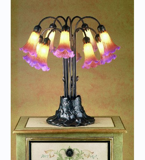 Meyda Tiffany 14429 10 Light Tiffany Pondlily Table Lamp
