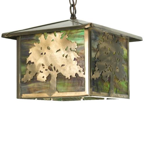 Meyda Tiffany 27048 12 Inch Sq Oak Tree Lantern Pendant