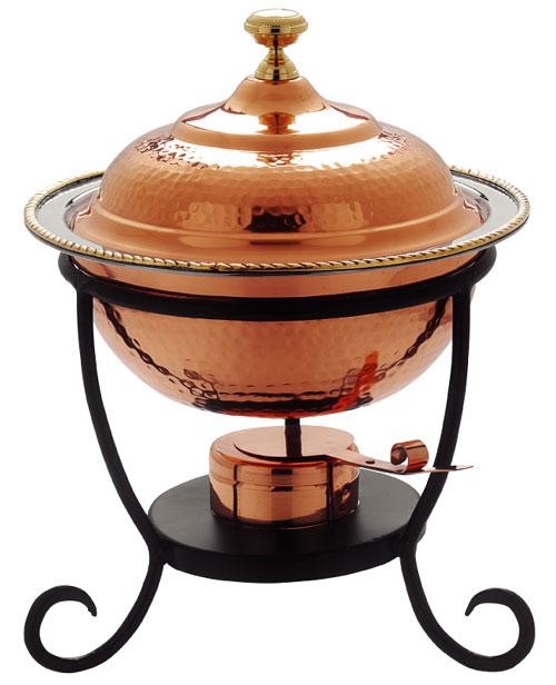 Old Dutch International 891 12 x 15 Inch Round Decor Copper Chafing Dish - 3 Qt