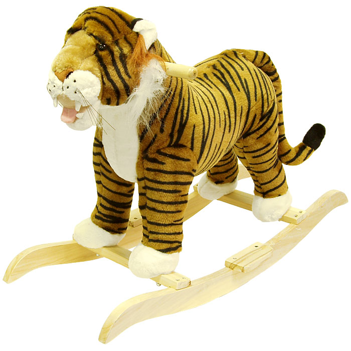 "Poker 80-31TIGER 14.25"" W x 22"" H Happy Trailst Tiger Plush Rocking"