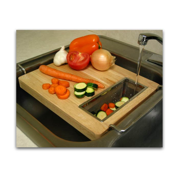 Chromed steel and wood oversink kitchen cutting board