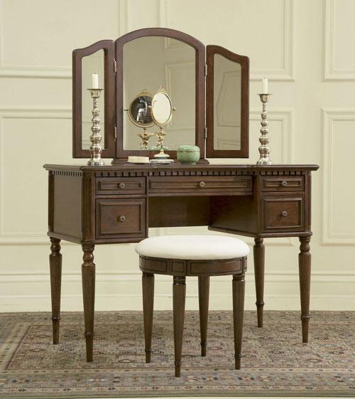 Powell 429-290 Warm Cherry Vanity  Mirror & Bench