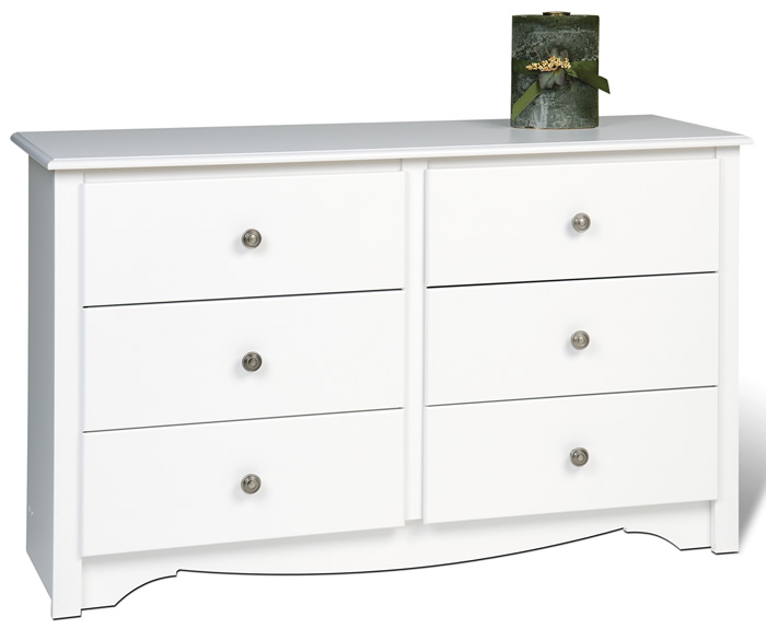 Prepac WDC-4829 Monterey CONDO 6 Drawer Dresser White