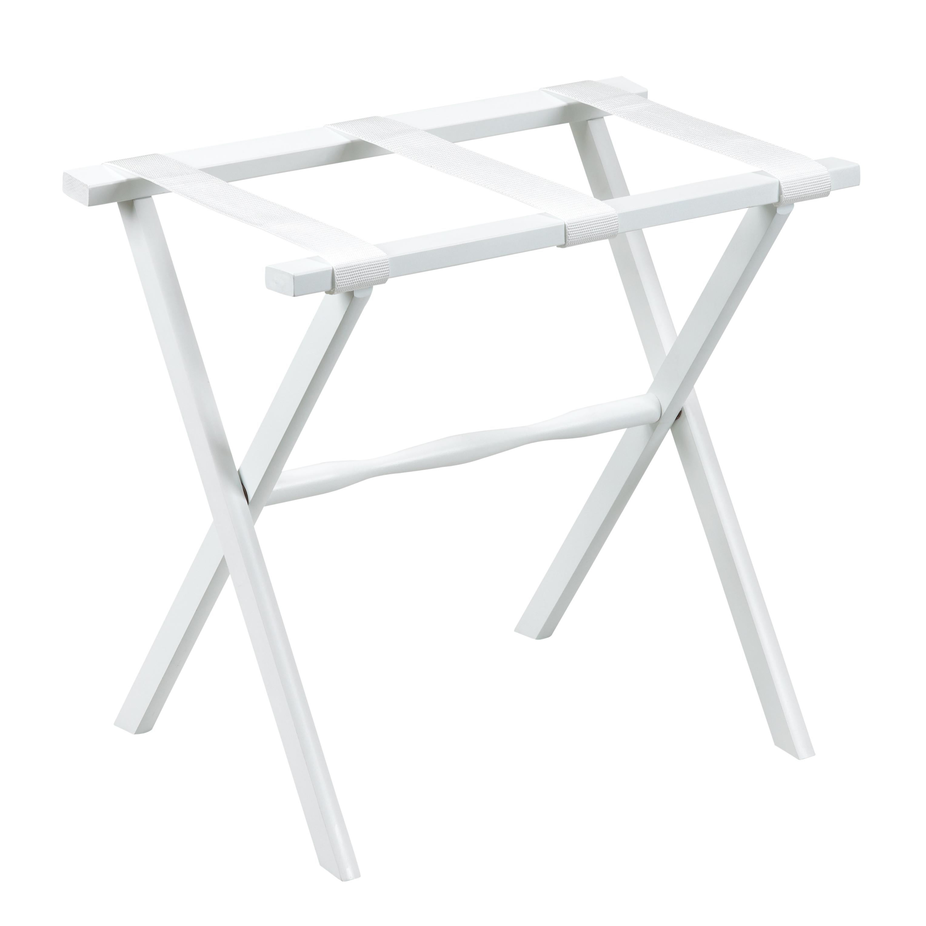 Gate House Furniture 1003 White Luggage Rack with White Nylon Straps - 23 x 13 x 20 Inch