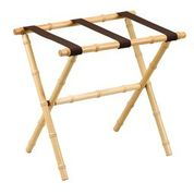 Gate House Furniture 1176 Natural Bamboo Luggage Rack with Brown Nylon Straps - 23 x 14 x 20 Inch