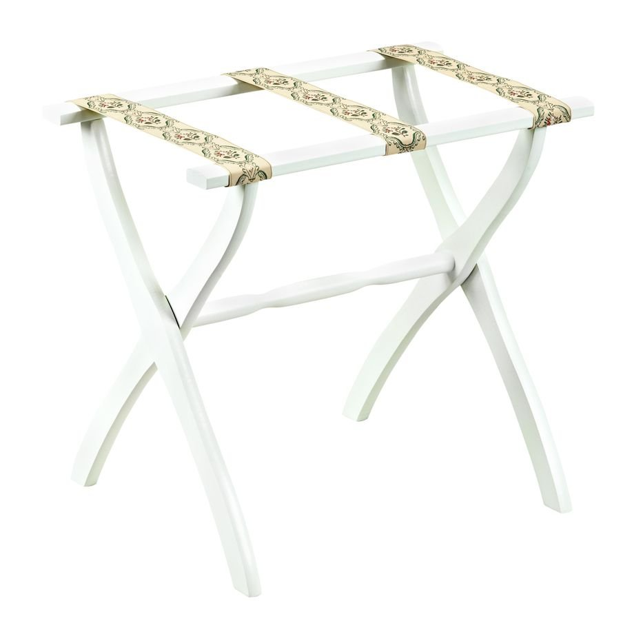 Scheibe 1303 White Luggage Rack with Petit Point Straps - 22 X 13 X 20 Inch